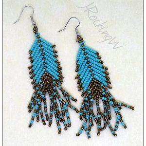 Handmade Feather Bronze Turquoise Boho Earrings